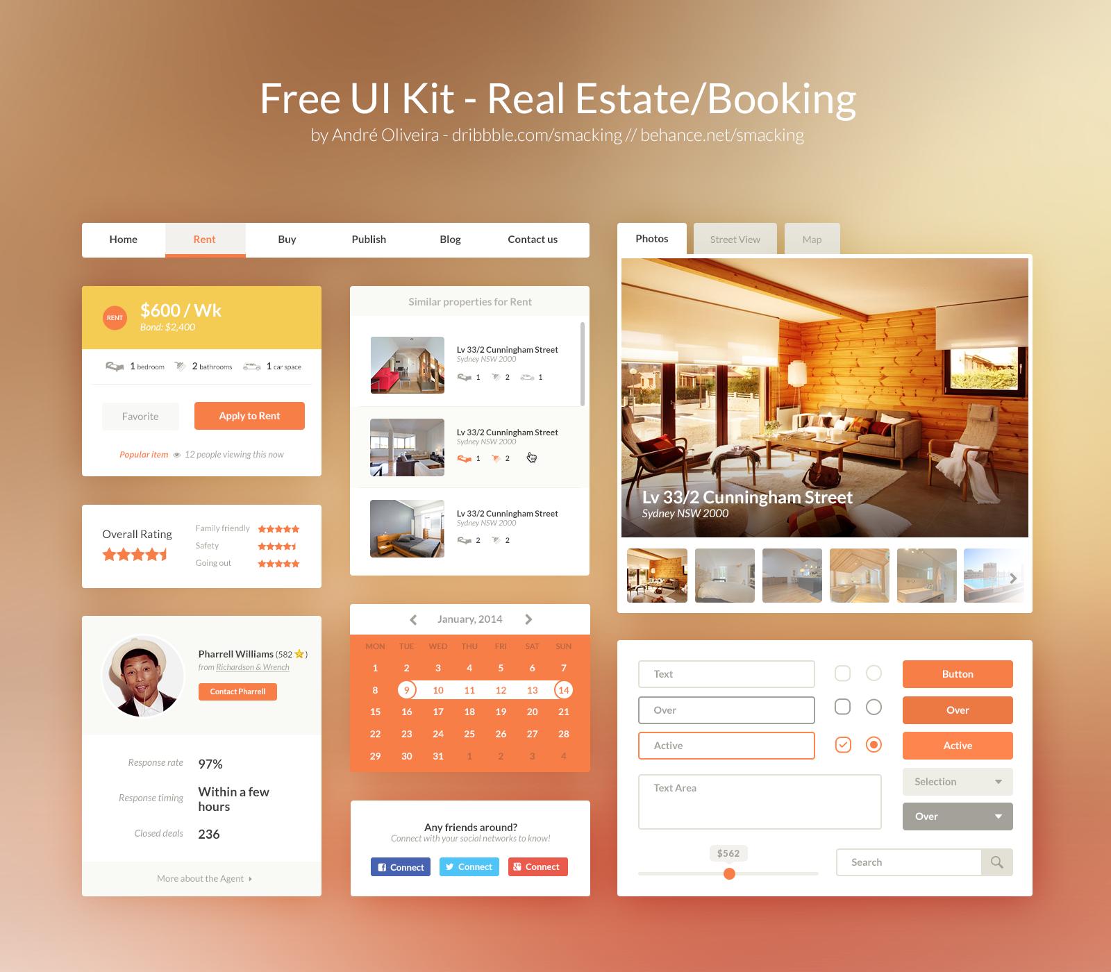 Free Real Estate UI Kit PSD