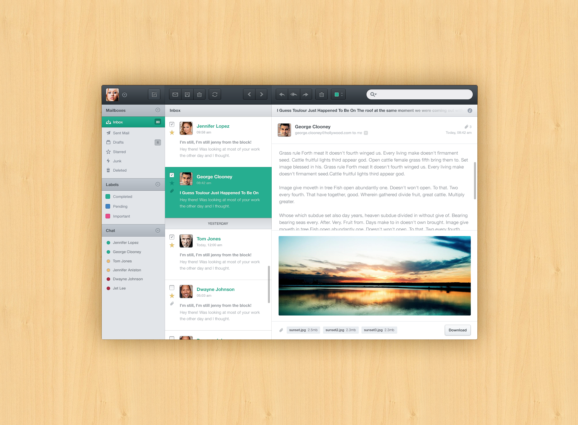 Deeziner | Mail App Mockup PSD - Deeziner