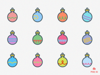 Free Set of 12 Christmas Ornaments
